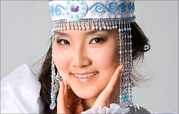 Yakutia, beauty Queen of Yakutia, traditional costume of Yakutia