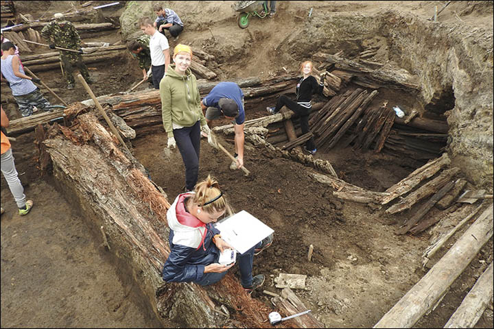 Excavations in the log house